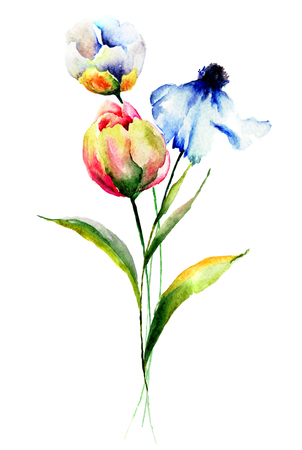 drawings image: Stylized flowers watercolor illustration Stock Photo