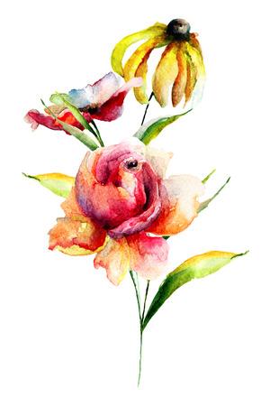 yellow roses: Original Summer flowers, watercolor illustration Stock Photo