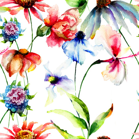 Seamless wallpaper with summer flowers, watercolor illustration illustration