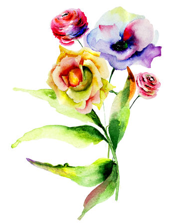 poppy flowers: Original watercolor illustration with Rose and Poppy flowers