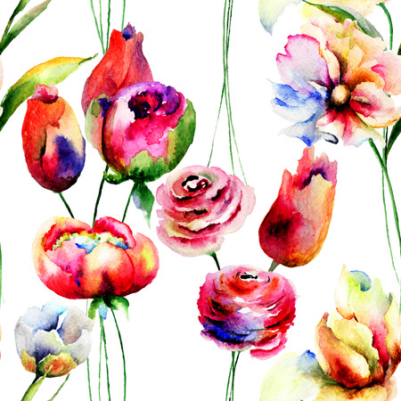 Seamless wallpaper with red summer flowers, Watercolor painting photo