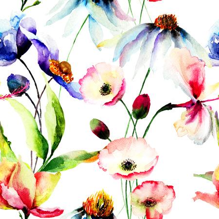 Nahtlose Tapete mit Wildblumen, Aquarellillustration