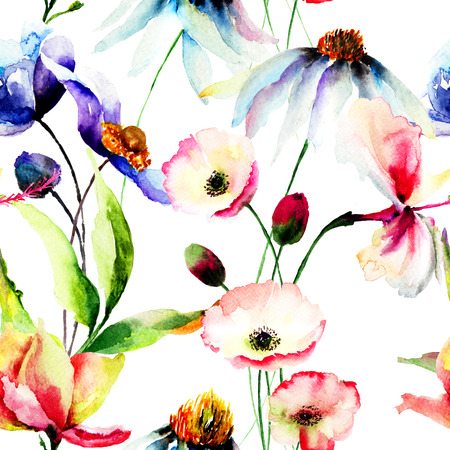 fabric painting: Seamless wallpaper with wild flowers, watercolor illustration Stock Photo