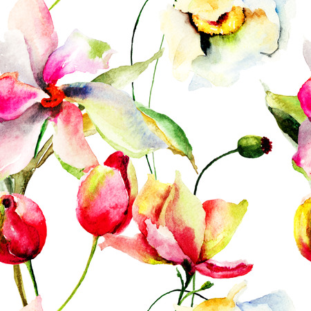 Seamless wallpaper with Lily and Tulips flowers, watercolor illustration illustration