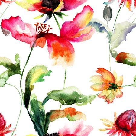 Seamless pattern with original flowers, Watercolor painting photo