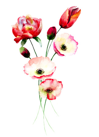 tulip: Poppy and Tulips flowers, watercolor illustration Stock Photo