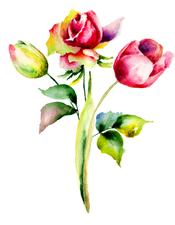 Tulips and Rose flowers,