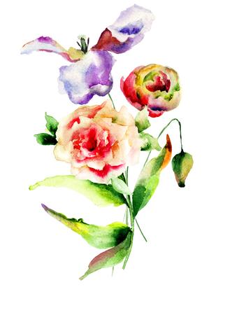 gerber daisy: Original Summer flowers, watercolor illustration Stock Photo