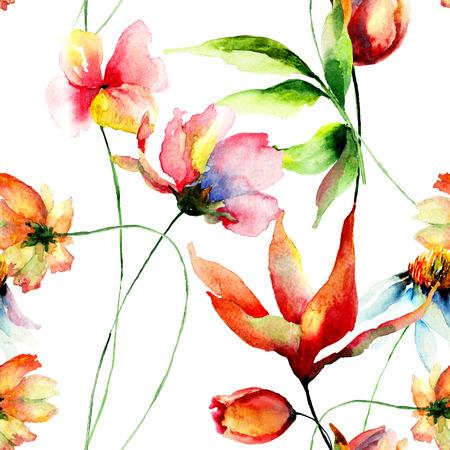 Naadloos behang met decoratieve zomerbloemen, aquarel illustratie