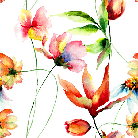 Seamless wallpaper with decorative summer flowers, watercolor illustration Stock Photo