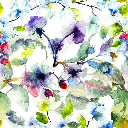 painting on wall: Seamless pattern with Blossoming tree brunch, watercolor illustration