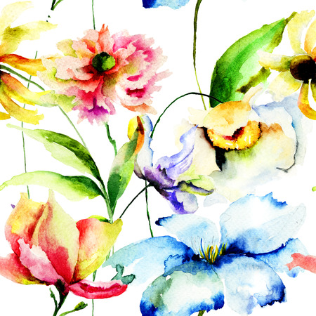 Seamless pattern with wild flowers, watercolor illustration illustration