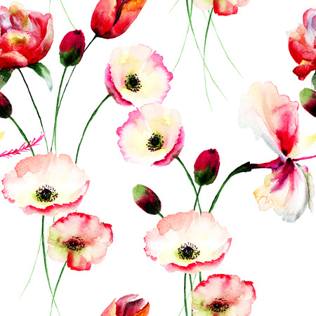 poppy pattern: Seamless pattern with Poppy flowers, Watercolor painting Stock Photo