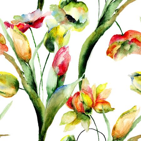 fleurs romantique: Seamless wallpapers avec des fleurs romantiques, illustration d'aquarelle Banque d'images
