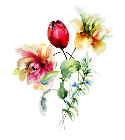 Original floral background with flowers