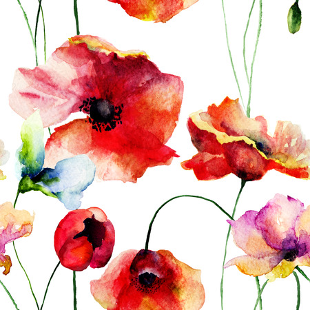 Seamless wallpaper with poppies flowers, watercolor illustration