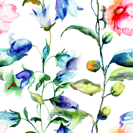 convolvulus: Seamless pattern with Ipomea and Bell flower flowers illustration, watercolor painting Stock Photo