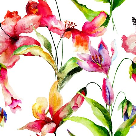 gerber daisy: Seamless wallpaper with summer flowers, Watercolor painting
