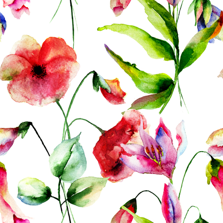 Seamless pattern with Decorative summer flowers, watercolor illustration illustration