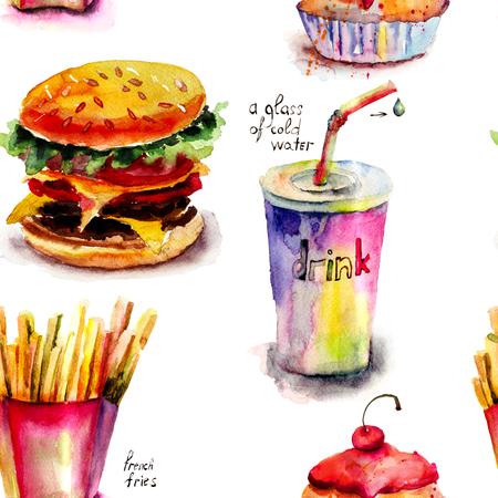 sesame seed: Seamless pattern with cartoon style food illustration
