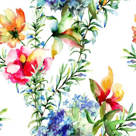 patrones de flores: Patrón sin fisuras con flores decorativas de verano, ejemplo de la acuarela