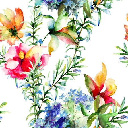 botanical drawing: Seamless pattern with Decorative summer flowers, watercolor illustration