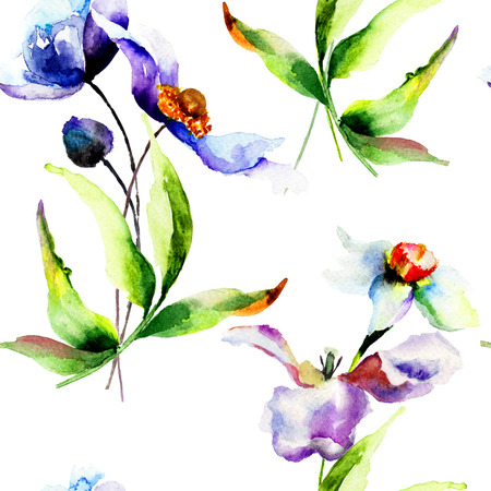 in peas: Floral seamless wallpaper, watercolor illustration