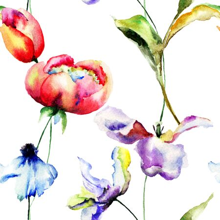 lily flower: Floral seamless pattern, watercolor illustration Stock Photo