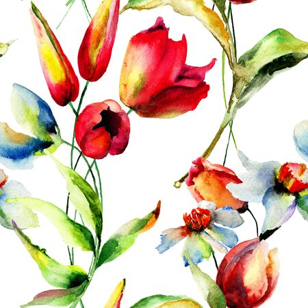 seamless floral: Floral seamless pattern, watercolor illustration Stock Photo