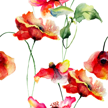 Seamless wallpaper with Poppies flowers, Watercolor painting