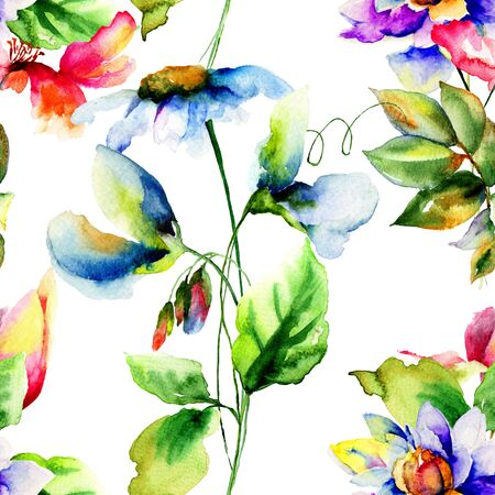 wallpaper floral: Floral Seamless wallpaper, Watercolor painting
