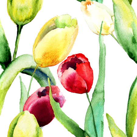 gerber daisy: Seamless wallpaper with Tulips flowers, Watercolor painting
