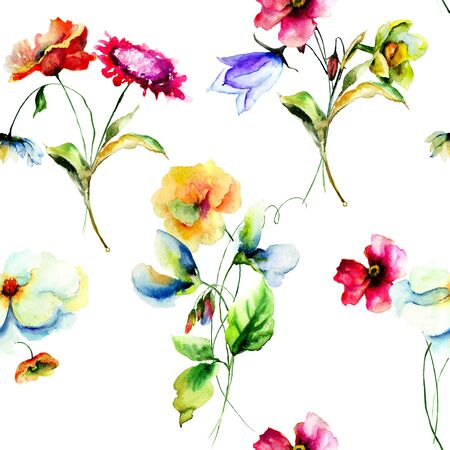 lily flower: Colorful wild flowers, seamless pattern, watercolor illustration Stock Photo