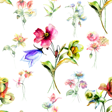 sweet pea: Seamless wallpaper with wild flowers, watercolor illustration Stock Photo