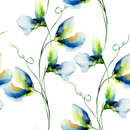 Seamless wallpaper with Sweet pea flowers, watercolor illustration
