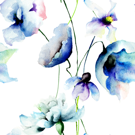 blue flowers: Seamless wallpaper with blue flowers, watercolor illustration