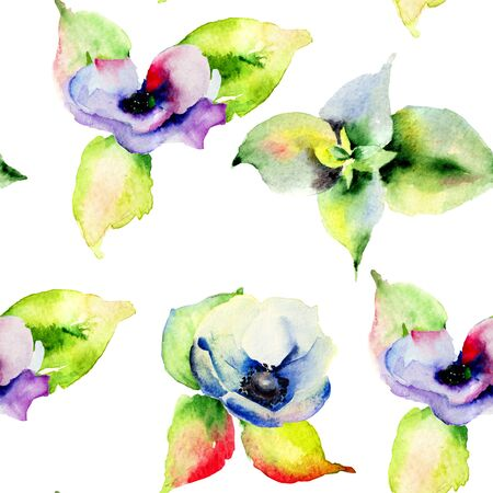 flower painting: Seamless pattern with spring flowers, watercolor illustration