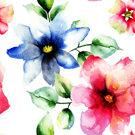 lilies: Seamless wallpaper with wild flowers, watercolor illustration Stock Photo