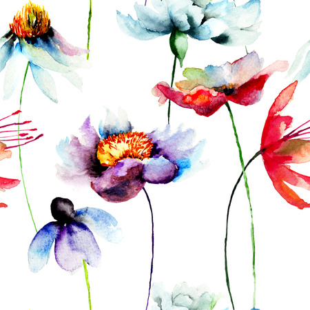 seamless floral pattern: Floral seamless pattern, watercolor illustration Stock Photo