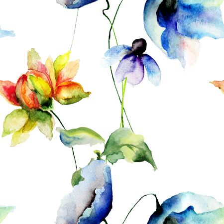 fleurs romantique: Seamless wallpapers with romantic flowers, watercolor illustration