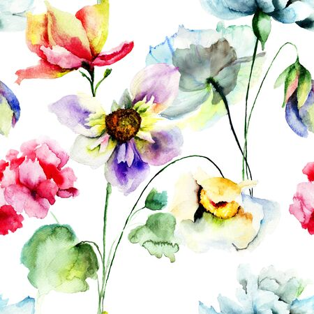 retro flowers: Seamless pattern with colorful wild flowers, watercolor illustration