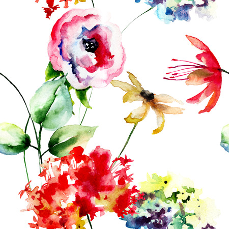 flower structure: Seamless pattern with Original flowers, watercolor illustration