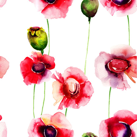 lily flowers: Seamless wallpaper with summer flowers, Watercolor painting