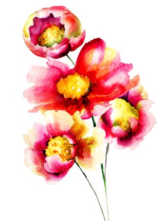 sch�ne blumen: Beautiful flowers, watercolor illustration