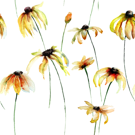 seamless floral: Seamless wallpaper with Yellow Gerber flowers, watercolor illustration