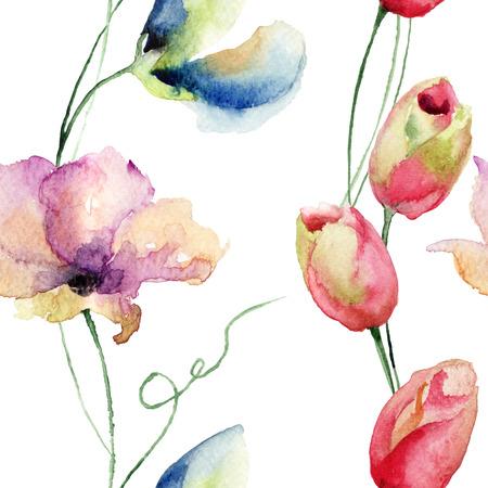 Seamless pattern con tulipani e fiori di pisello dolce, acquerello illustrazione Archivio Fotografico