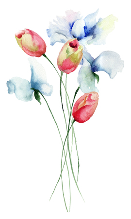 watercolour painting: Tulips and Sweet pea flowers, watercolor illustration