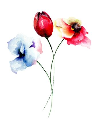 spots: Colorful wild flowers, watercolor illustration