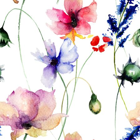 flowers summer: Seamless pattern with Decorative summer flowers, watercolor illustration
