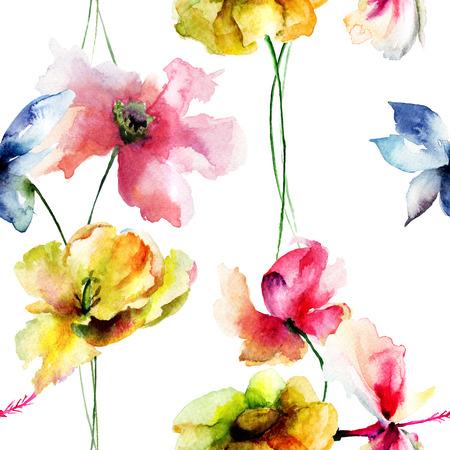 Naadloos behang met wilde bloemen, aquarel illustratie